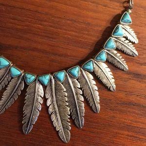 Jewelry - Turquoise Feather Boho necklace